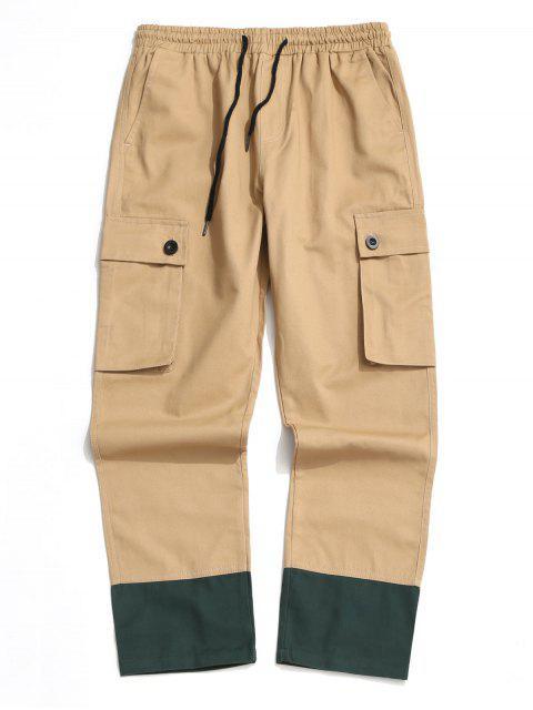 Pantalones Casuales Ajustables Color Empalmado y Cordones - Camel Marrón S Mobile