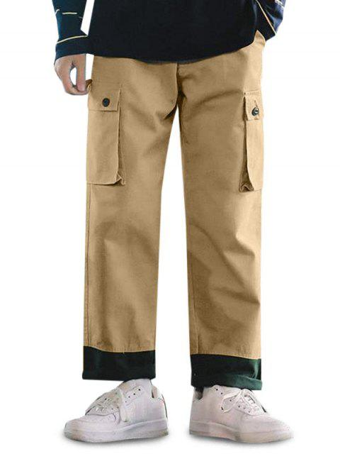 Pantalones Casuales Ajustables Color Empalmado y Cordones - Camel Marrón L Mobile