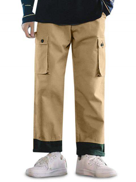 Pantalones Casuales Ajustables Color Empalmado y Cordones - Camel Marrón XL Mobile