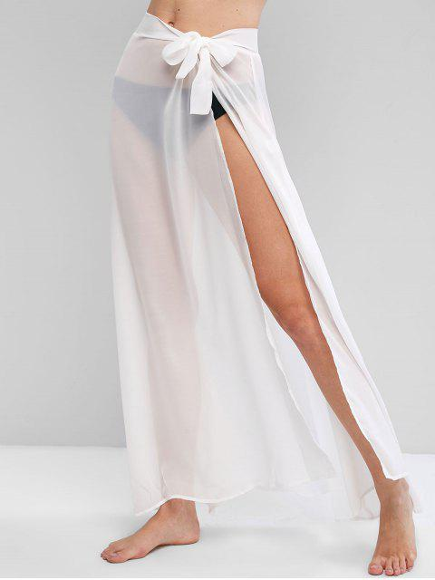 new Chiffon Tie Waist Beach Sarong - WHITE ONE SIZE Mobile