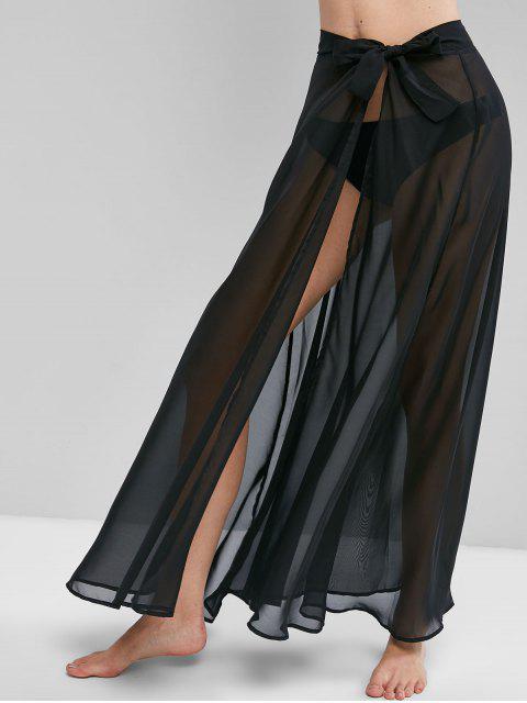 ladies Chiffon Tie Waist Beach Sarong - BLACK ONE SIZE Mobile