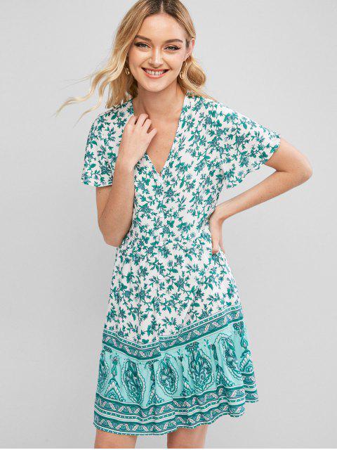 Mini Vestido Estampado Floral Lazo Botón - Verde S Mobile