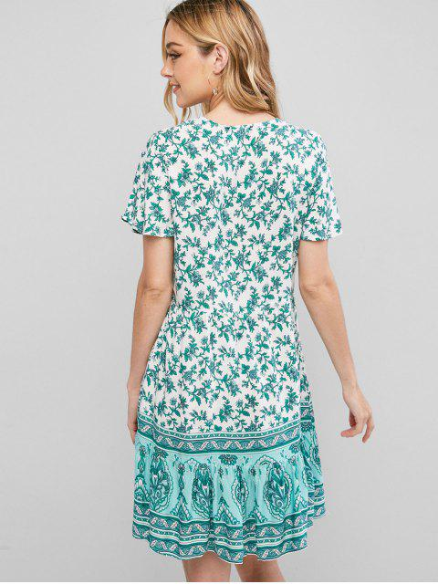 women Button Loop Floral Printed Mini Dress - GREEN S Mobile