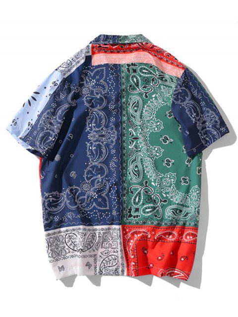 buy Paisley Patchworks Printed Button Shirt - MULTI-A 2XL Mobile