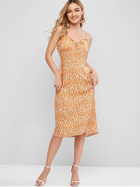 Robe Fleurie à Bretelle à Col Noué - Orange M Mobile