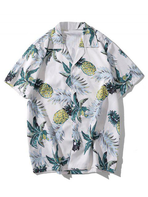 shop Pineapple Leaf Print Casual Shirt - WHITE L Mobile