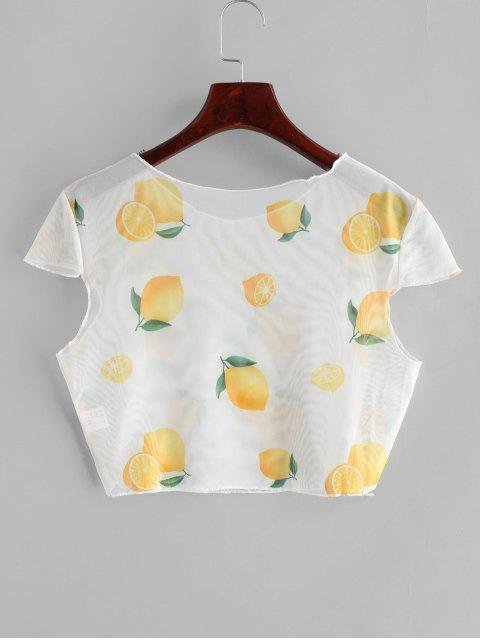 buy Sheer Mesh Lemon Print Crop Top - WARM WHITE S Mobile