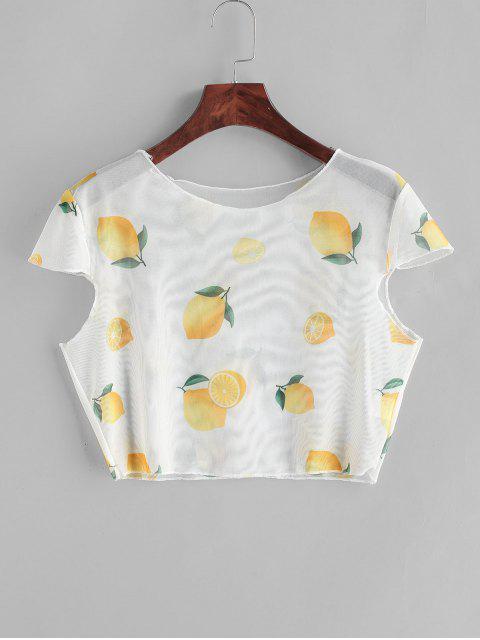 unique Sheer Mesh Lemon Print Crop Top - WARM WHITE M Mobile