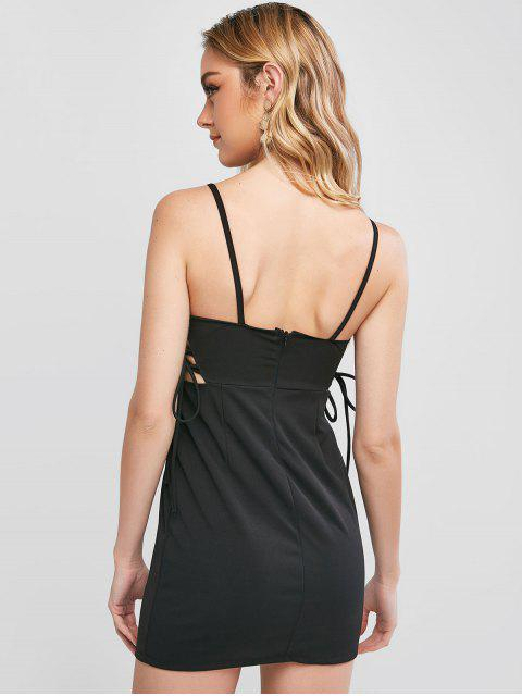 best Lace Up Padded Cami Club Dress - BLACK L Mobile