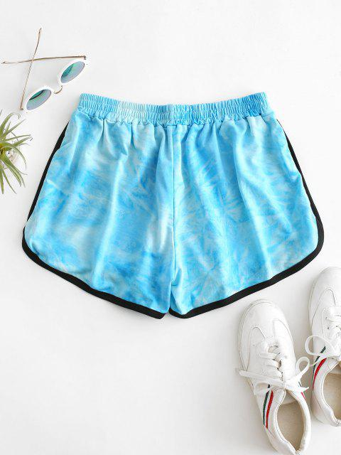 chic High Waisted Tie Dye Dolphin Shorts - BLUE L Mobile