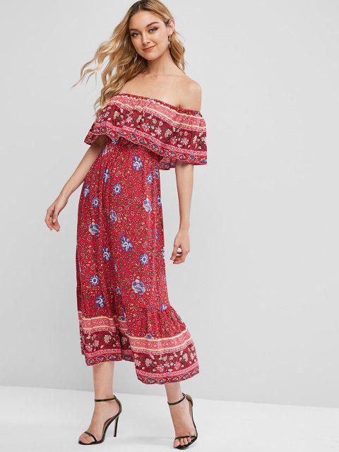 sale ZAFUL Floral Print Off Shoulder Bohemian Overlay Dress - VALENTINE RED M Mobile