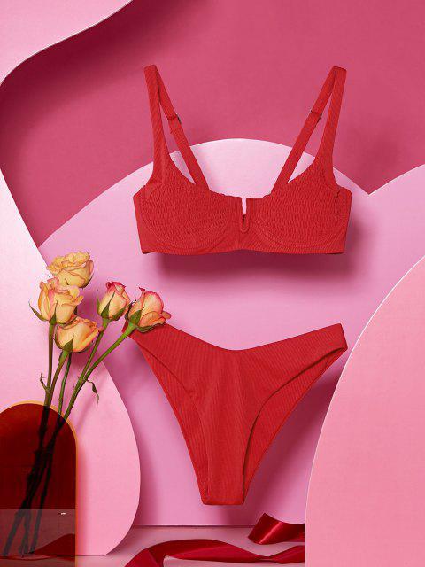 chic ZAFUL Ribbed Underwire Smocked Balconette Bikini Swimsuit - LAVA RED L Mobile