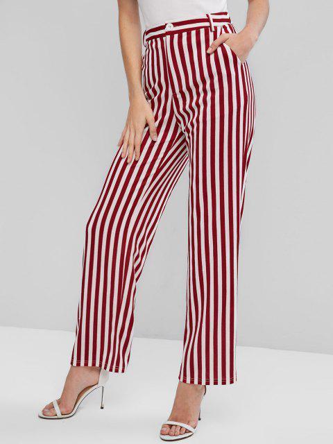 trendy ZAFUL Striped High Waist Wide Leg Pants - MULTI-A S Mobile