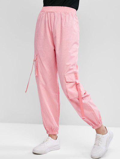 Flap Pockets Buckle Straps Cargo Jogger Pants - Pink M