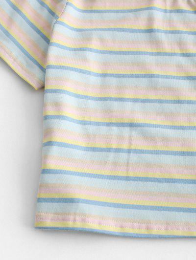 Cropped Colorful Striped Tee, Multi-a
