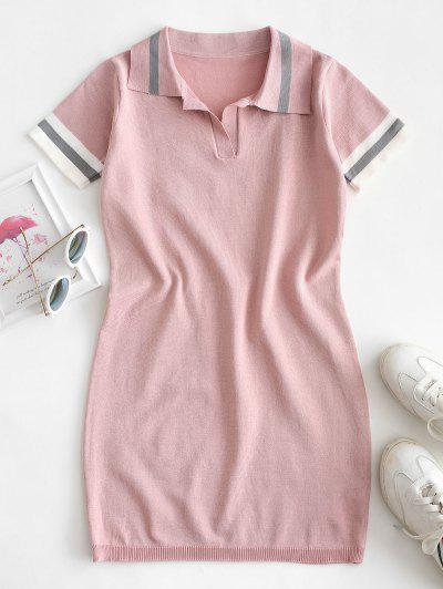 Knitted Stripes Panel Bodycon Dress - Pink M