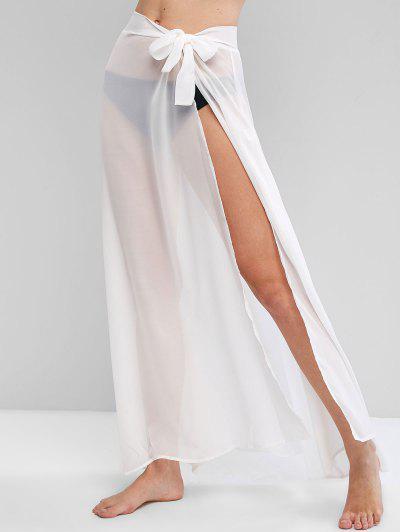 Robe De Plage à Taille Nouée En Mousseline - Blanc