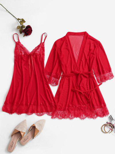 Lace Insert Mesh Sheer Dress With Belted Robe - Red