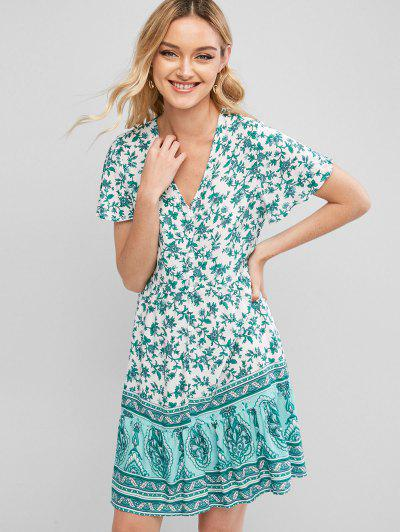 Button Loop Floral Printed Mini Dress - Green S