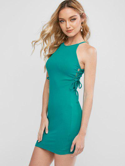 Ribbed Lace Up Side Bodycon Dress - Macaw Blue Green S