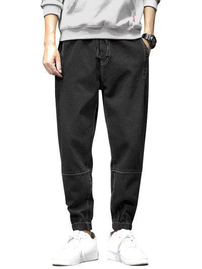 Solid Color Stitching Design Jeans - Black Xl