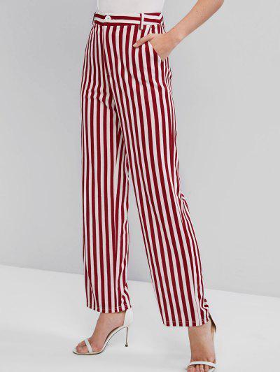 ZAFUL Striped High Waist Wide Leg Pants - Multi-a S