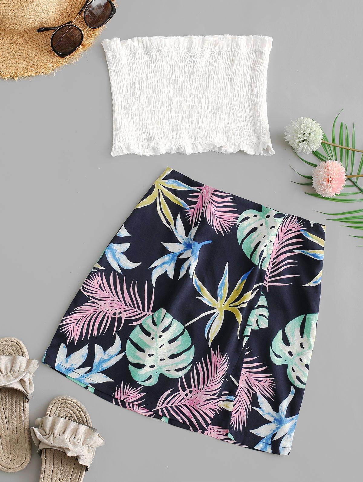 ZAFUL Smocked Bandeau Top And Leaves Print Skirt Set