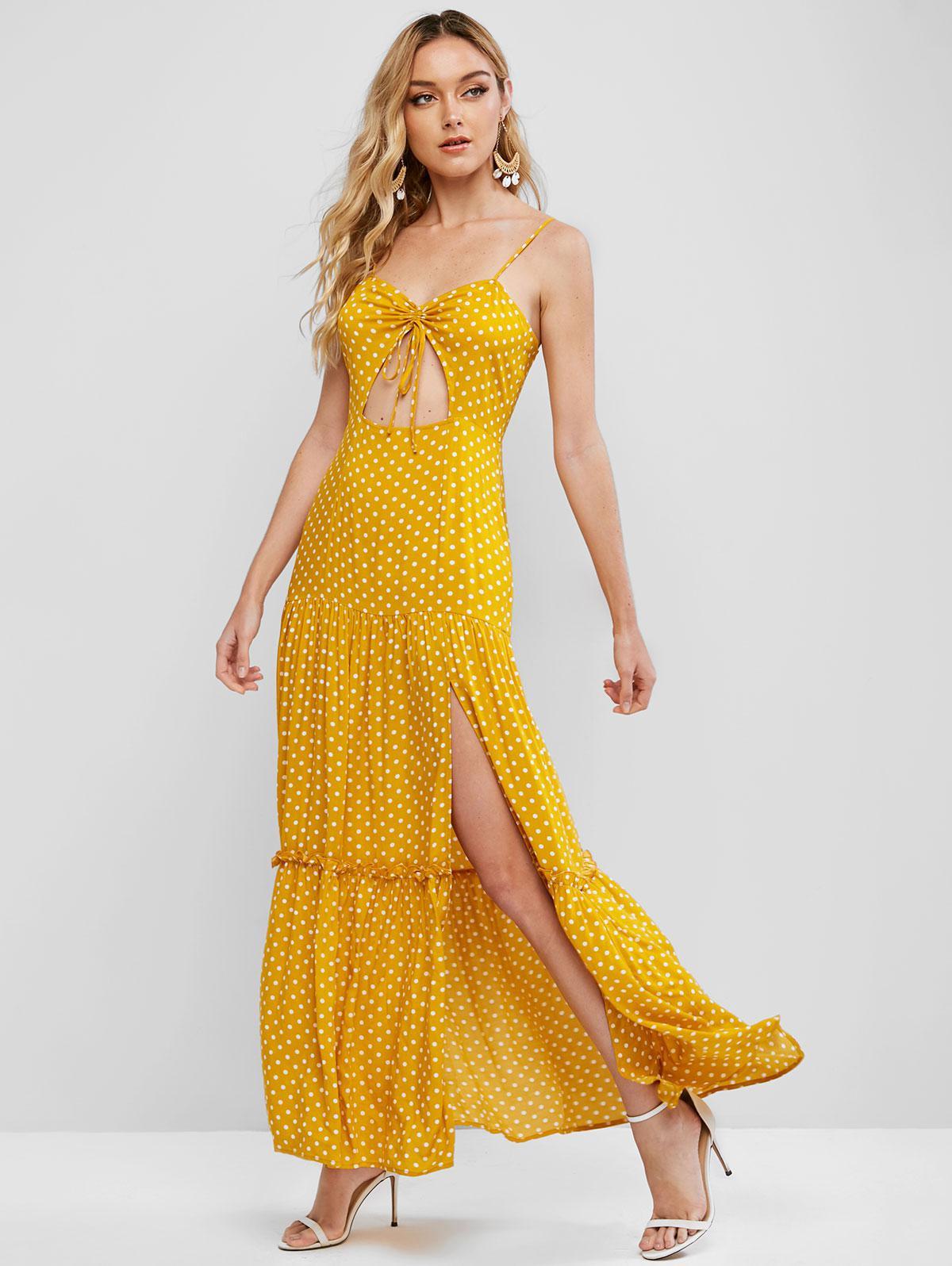 ZAFUL Polka Dot Cinched Slit Maxi Dress