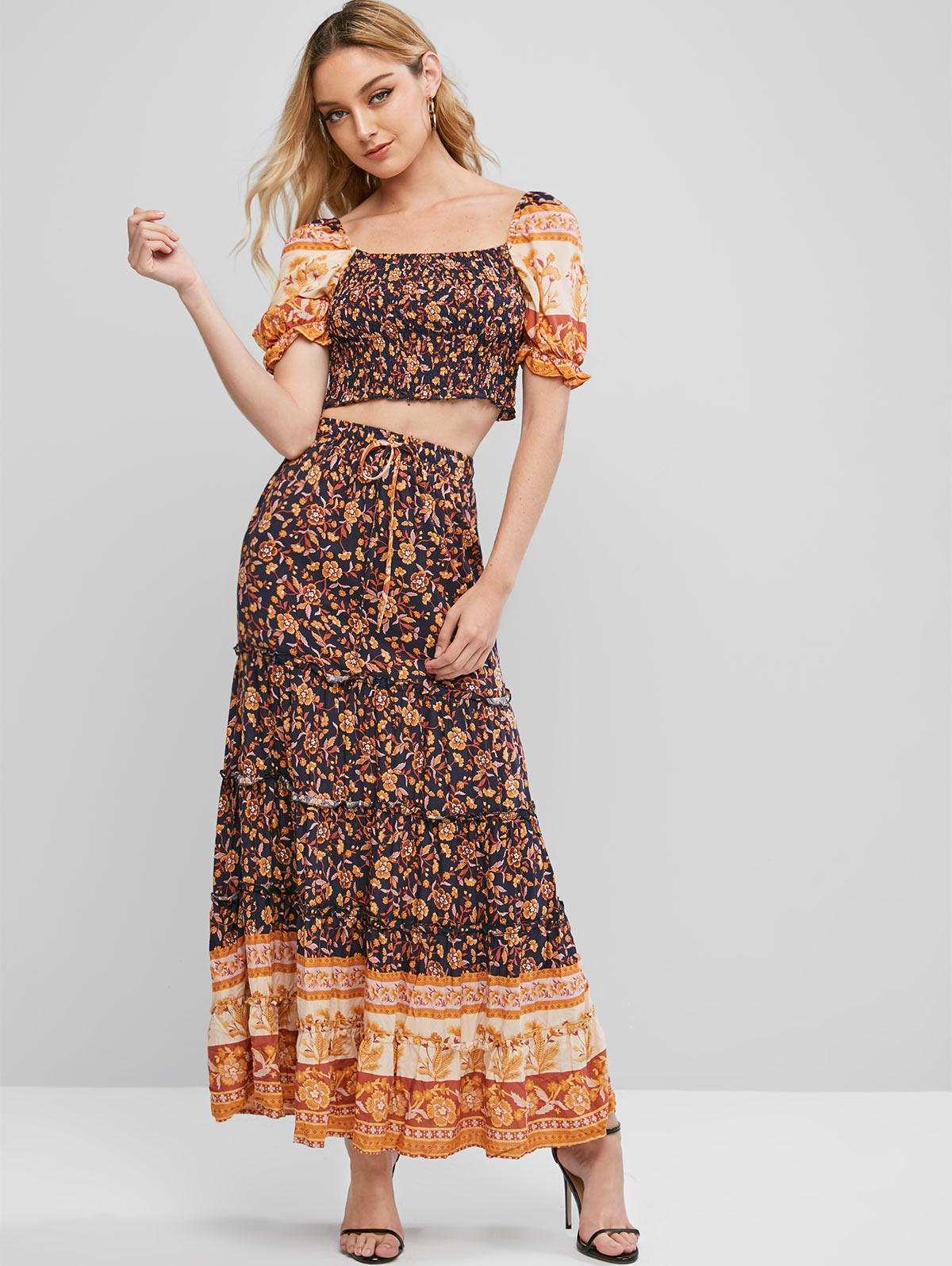 Drawstring Smocked Floral Two Piece Dress