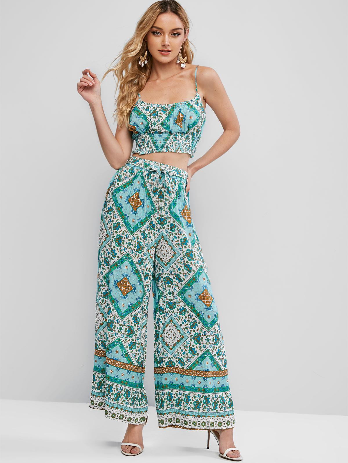 Smocked Back Belted Bohemian Printed Two Piece Set