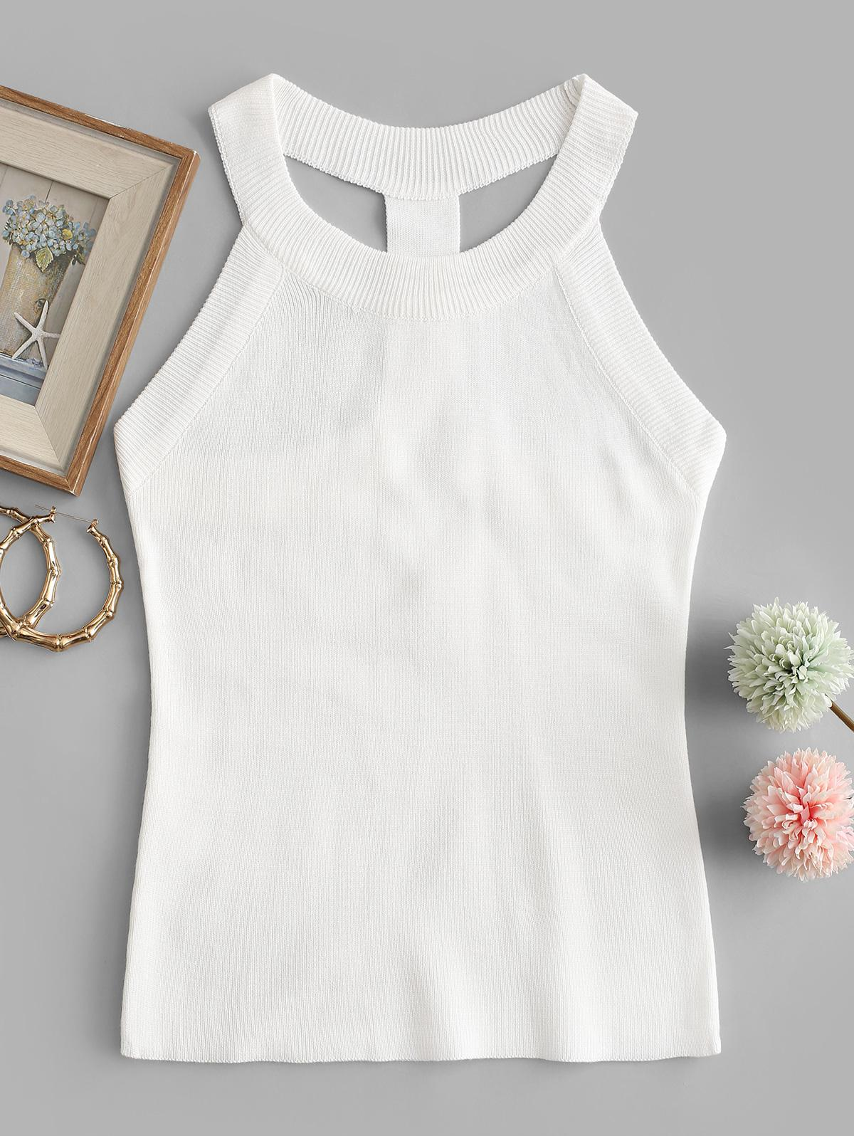 T Strap Crew Neck Knitted Tank Top