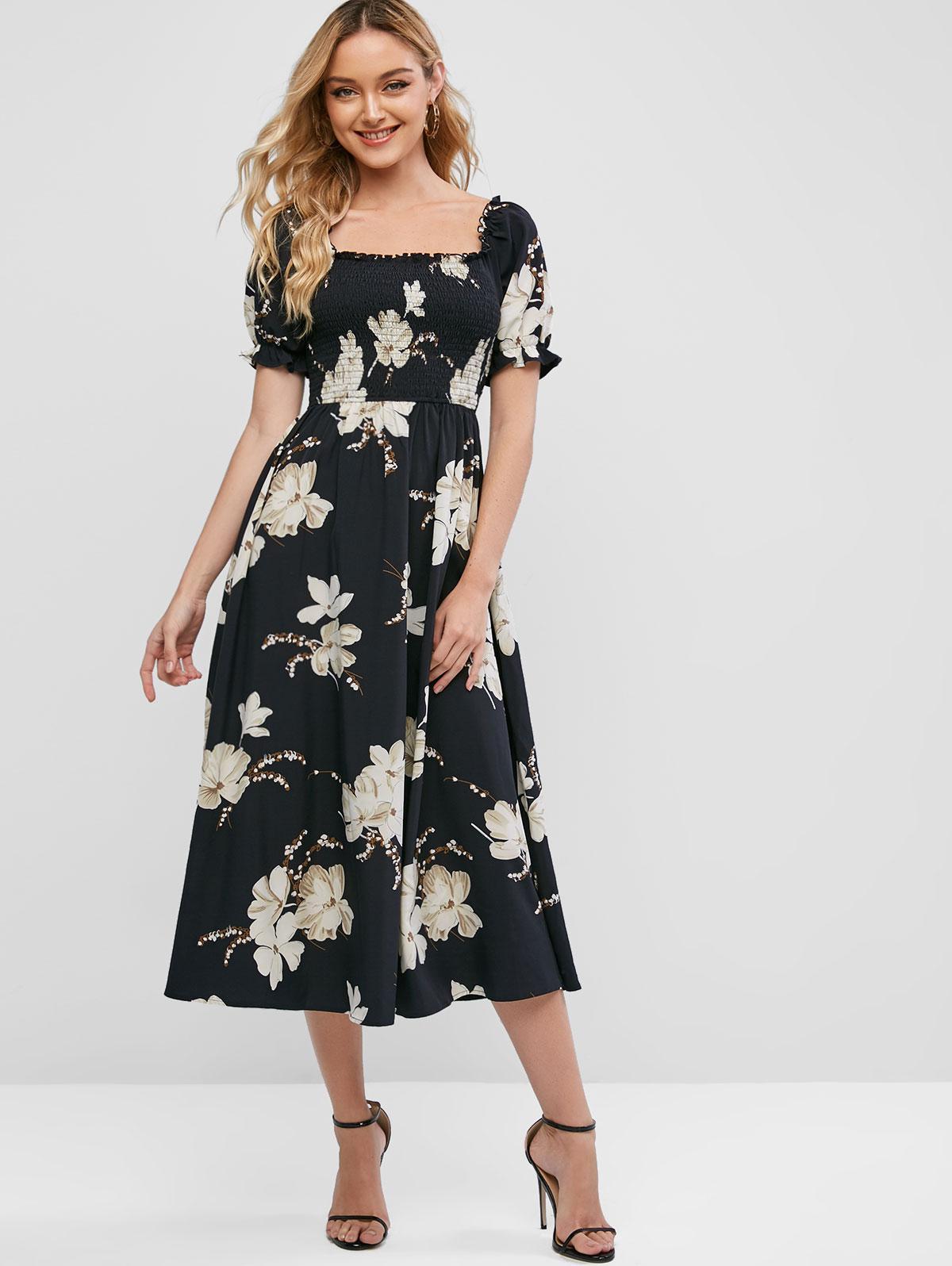 ZAFUL Floral Smocked Milkmaid Midi Dress