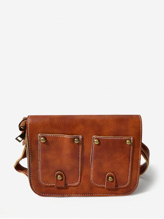 buy Rectangle Rivet Cover Shoulder Bag - BROWN