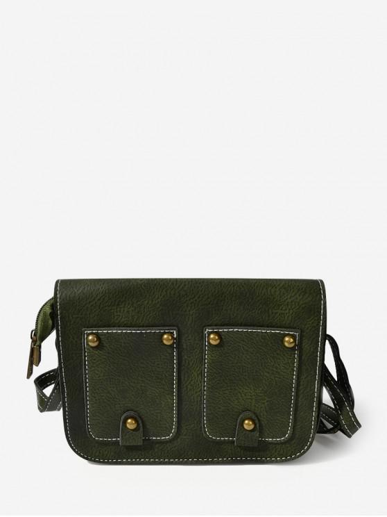 unique Rectangle Rivet Cover Shoulder Bag - MEDIUM SEA GREEN