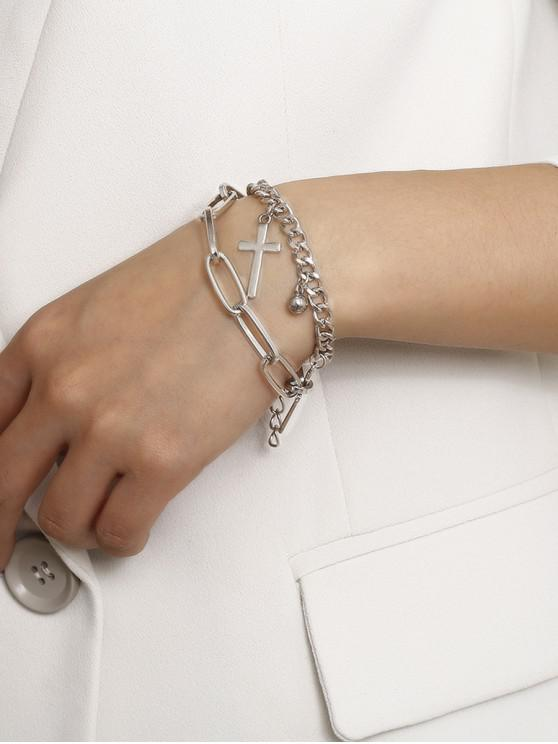 women Cross Pendant Chain Layered Bracelet - SILVER