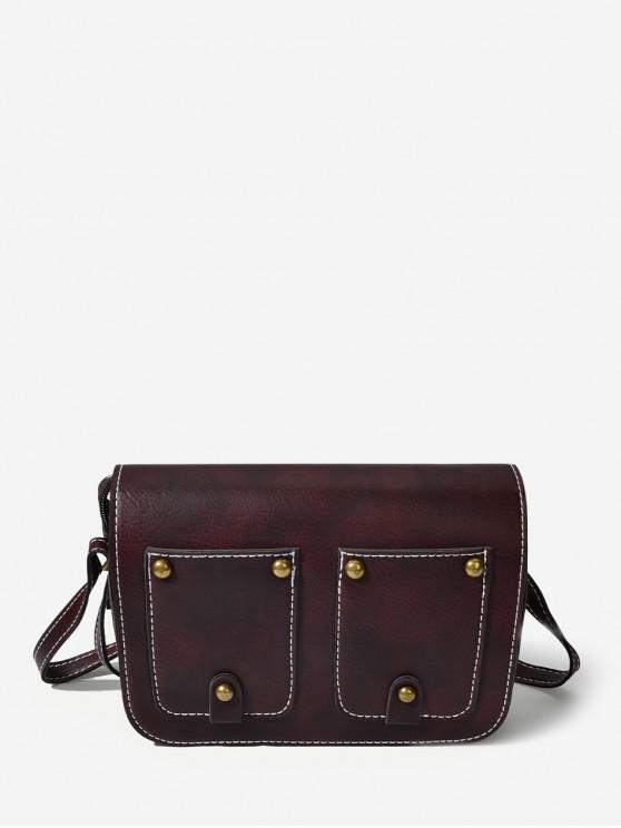 ladies Rectangle Rivet Cover Shoulder Bag - DEEP BROWN