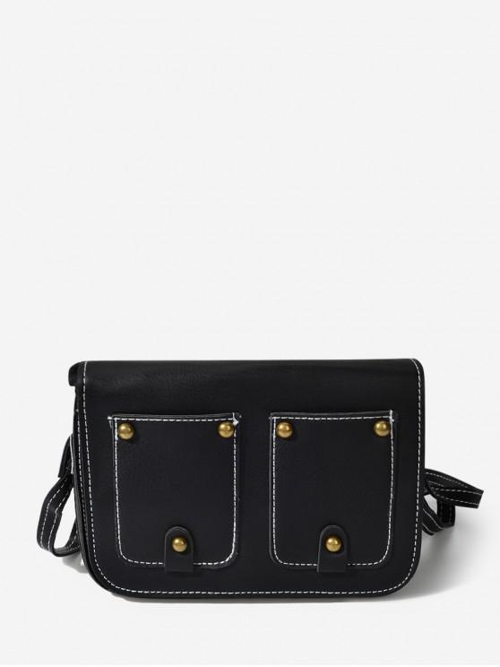 outfits Rectangle Rivet Cover Shoulder Bag - BLACK