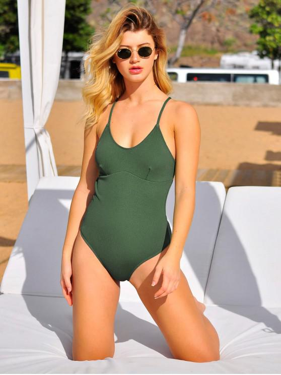 affordable ZAFUL Ribbed Textured Backless One-piece Swimsuit - HAZEL GREEN S