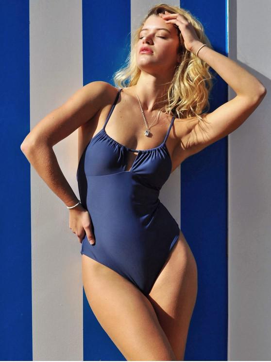 ZAFUL Keyhole Entrecruzamento uma peça Swimsuit - Ardósia Azul   L