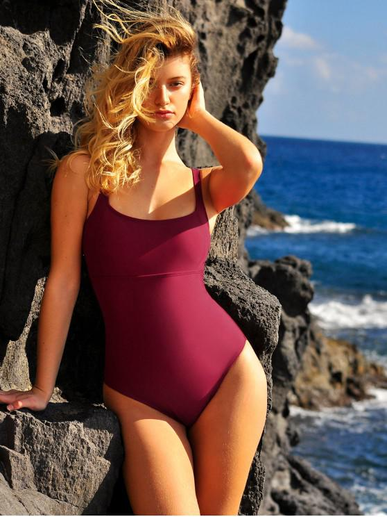hot ZAFUL Solid Straps One-piece Swimsuit - RED WINE S
