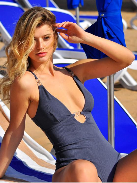 trendy ZAFUL Chain Ribbed One-piece Swimsuit - SLATE BLUE L