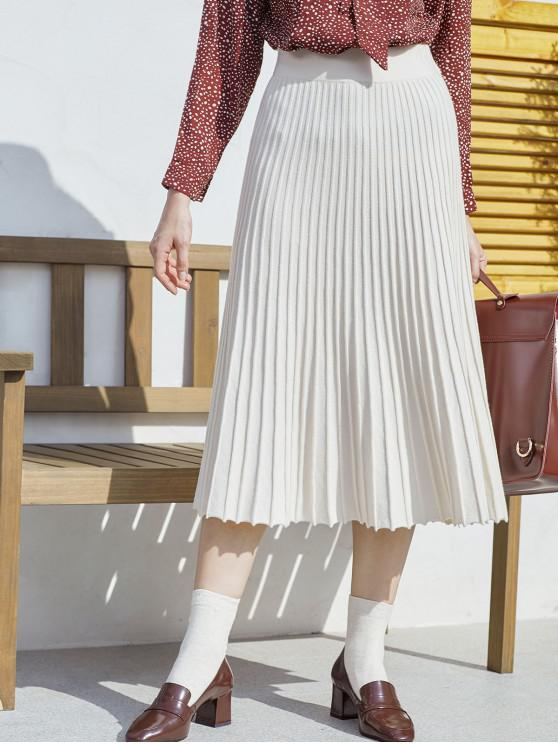 new Pleated Midi A Line Knit Skirt - WARM WHITE ONE SIZE