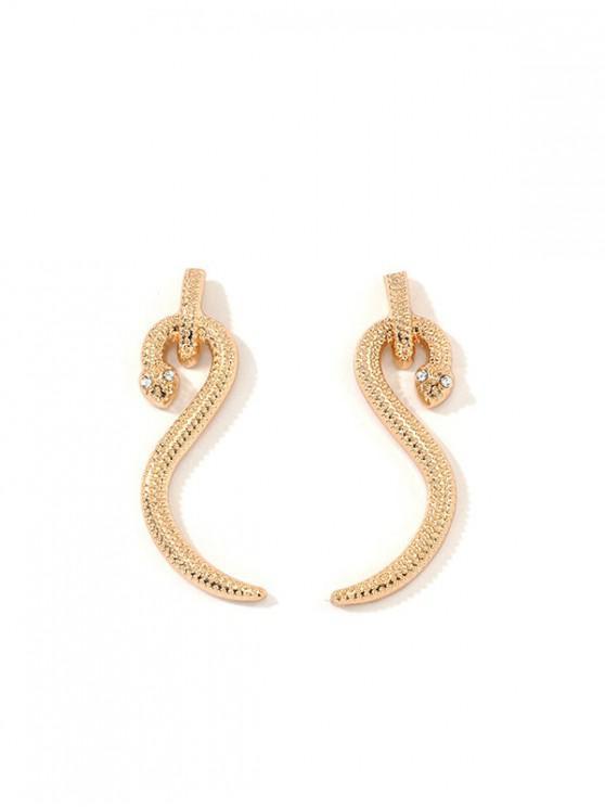 Pendientes de Aleación de Diamantes de Imitación de Diseño de Serpiente - Oro