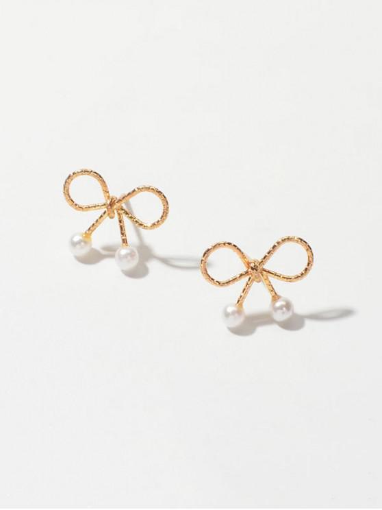 Faux Bowknot della perla decorato orecchini - Oro
