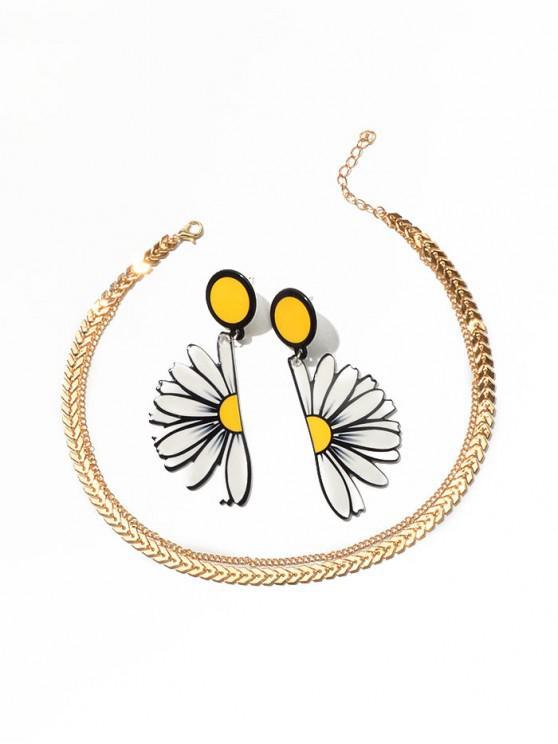 Conjunto de Collar de Clavícula de Flor - Oro