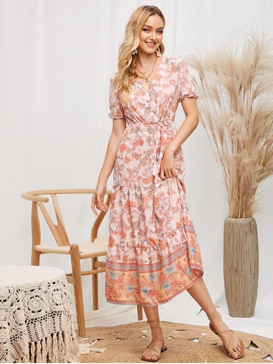 ladies Drawstring Tassels Button Loop Floral Midi Dress - MULTI-A M