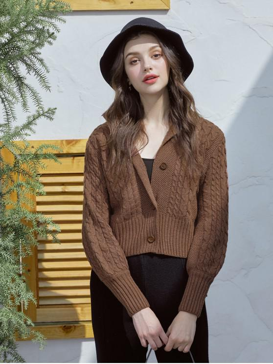 fancy Cable-knit Chunky Cardigan - BROWN ONE SIZE