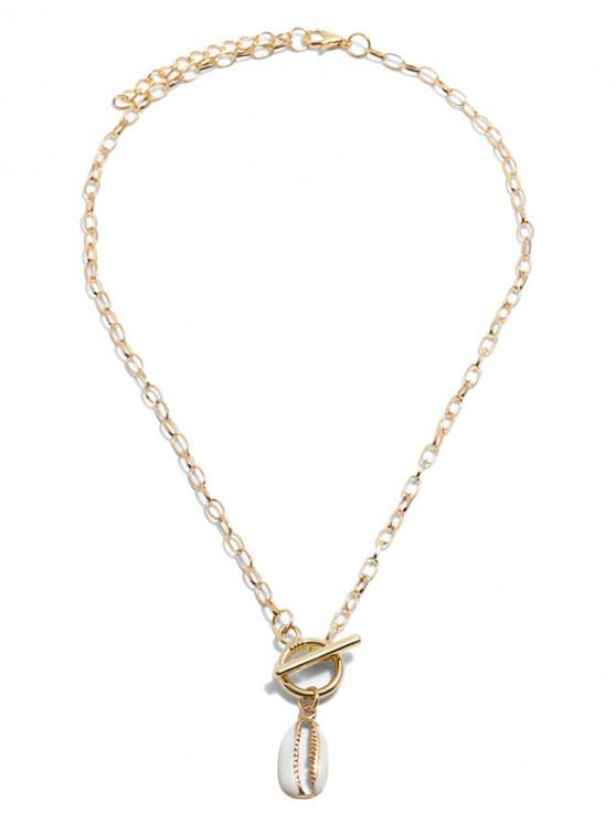 women's Hollow Shell Pendant Lariat Necklace - GOLD