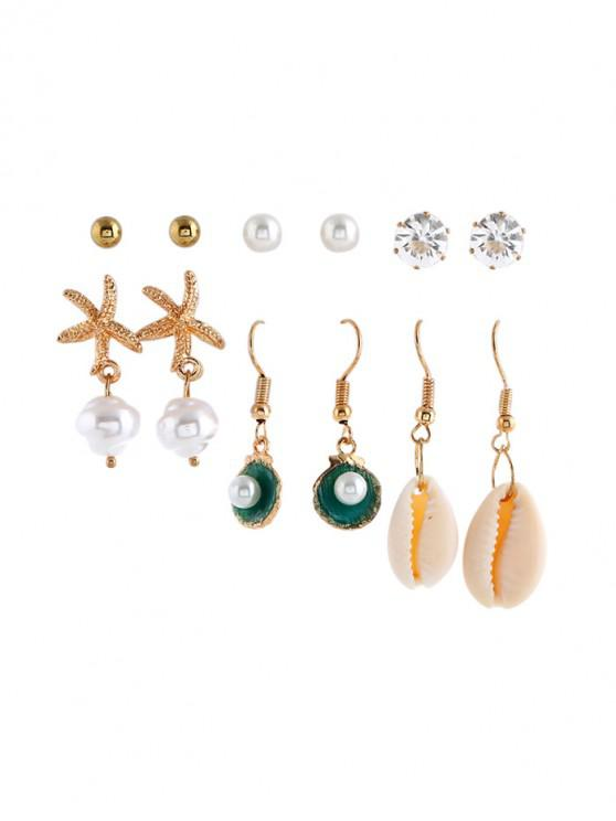 latest 6Pairs Faux Pearl Shell Earrings Set - GOLD