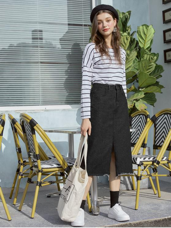 lady Front Slit Frayed Hem Denim Skirt - BLACK L